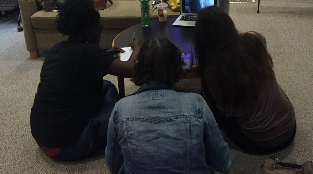 Students skyping with teacher